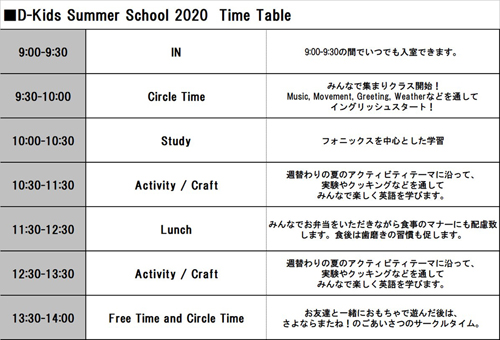 2020summer timetable