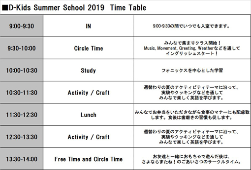 ss timetable 2019